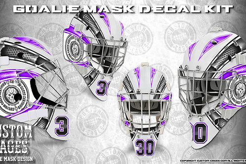 BASIC-Goalie Mask Vinyl Decal Set (purple/black)