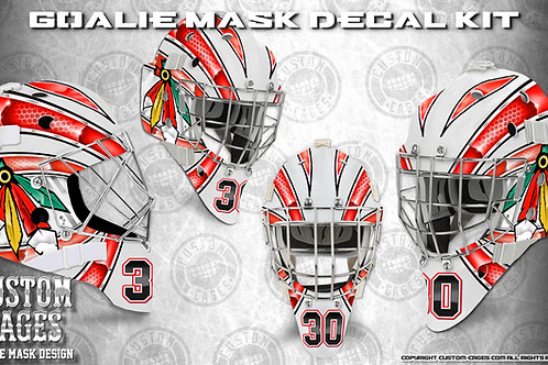 RED BLACK #3-Goalie Mask Vinyl Decal Set