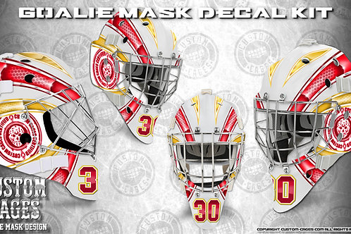 BASIC-Goalie Mask Vinyl Decal Set (red/yellow)