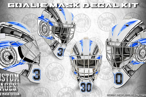 BASIC-Goalie Mask Vinyl Decal Set (blue/black)