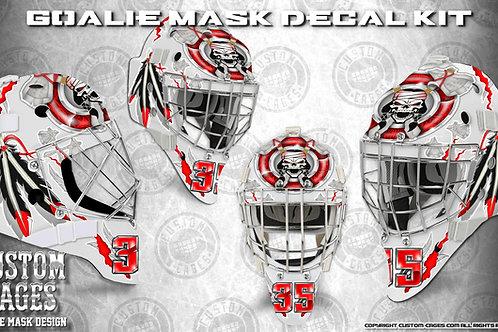 REDBLACK-Goalie Mask Vinyl Decal Set