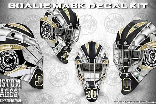BASIC-Goalie Mask Vinyl Decal Set (white/gold)