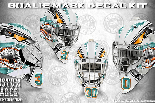 GREAT WHITE#2-Goalie Mask Vinyl Decal Set