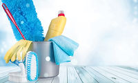 Plastic bottle, cleaning sponge and glov