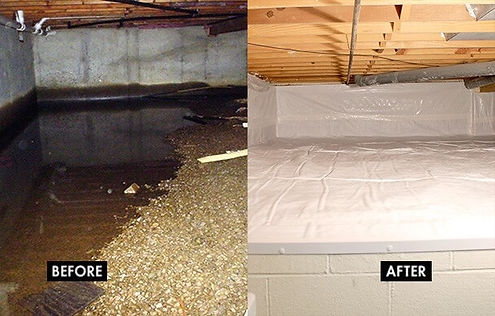 Before & after crawl space insulation in Washington DC