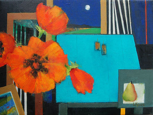 'Poppies, Pear, Moon' by Liz Knox