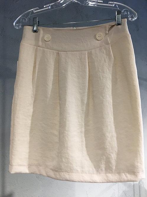 LW888-3 Jupe droite doublée à plis couchés crème