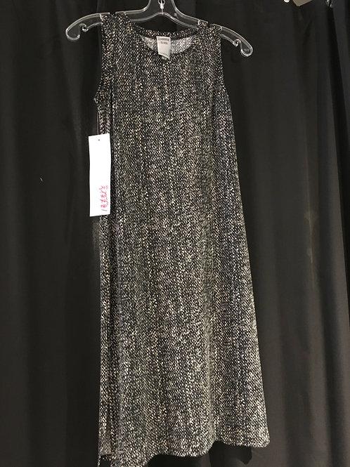 B556-TP Robe droite fourreau noire/beige