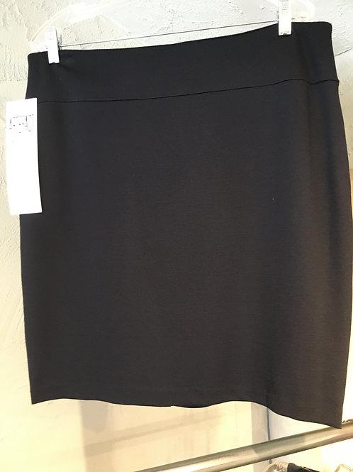 8324-13 Jupe doublée droite marine à bande rubanée tuxedo noire