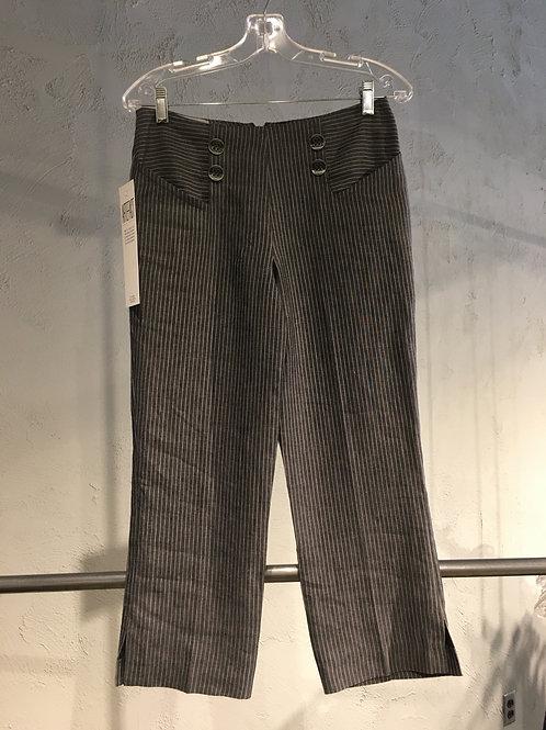 LW002-3 Pantalon 3/4  doublé en lin charbon rayé taupe