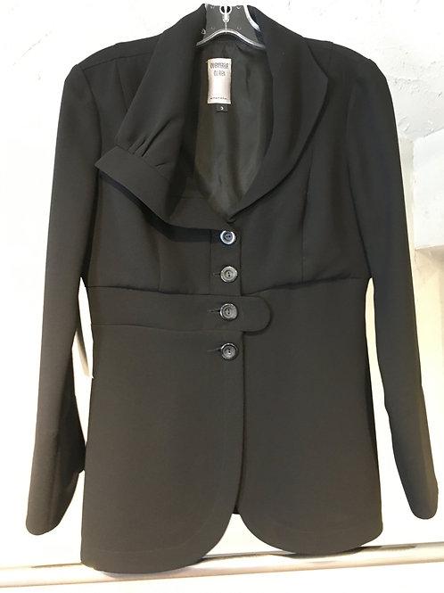 EE158-3 veste redingote col asymétrique noire