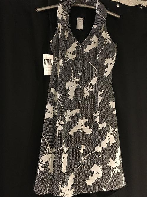 7699 Robe chemisier doublée col châle en mousseline de polyester noir/beige