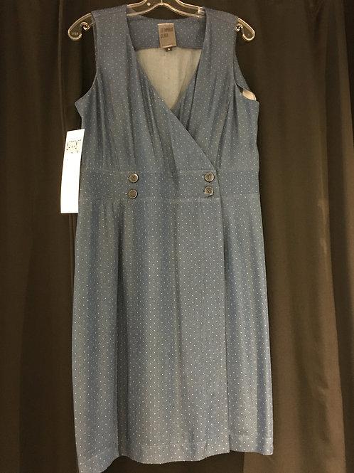N648 Robe porte-feuille bleu à fines rayures blanches en viscose