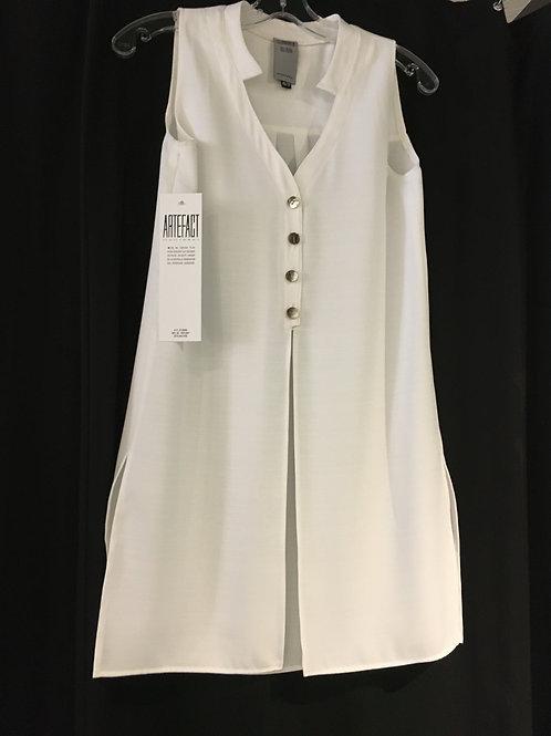 SE011-TP tunique col demi boutonnée polyester crème