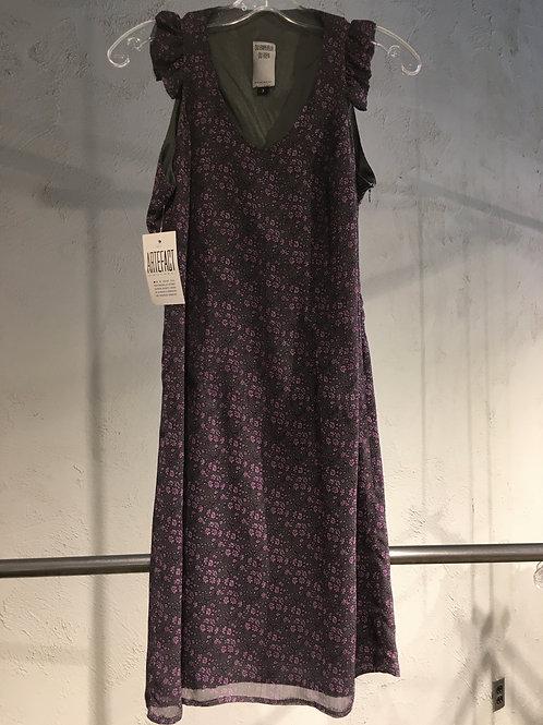 8551-3 Robe doublée évasée à volant mousseline fleurie gris/mauve