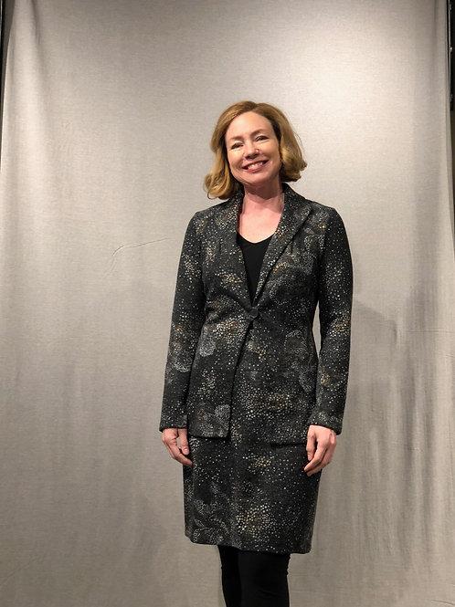 R357 veste cardigan à martingale  boutonnée au dos charbon-ocre-gris
