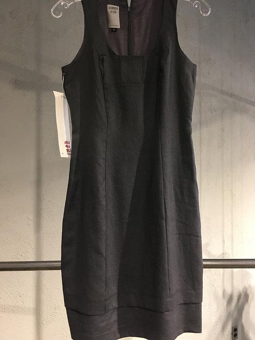 1741-3 Robe droite doublée ajustée en 100% lin gris acier