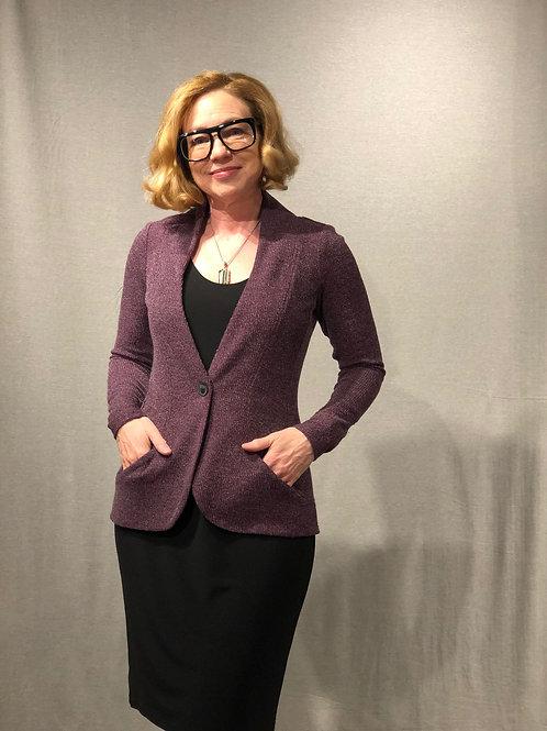 R386 veste tricot aubergine avec poches