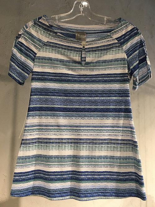 N748 Chandail manches courtes à goutte rayures bleu/blanc/marine