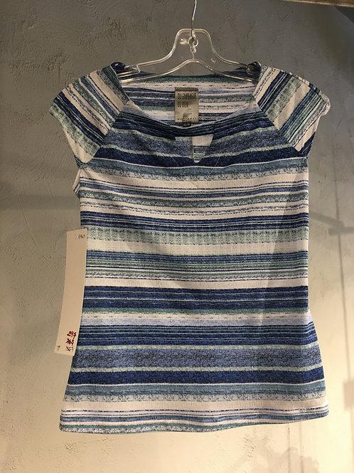 N763-TP Chandail à manche cape rayures bleu/blanc/marine