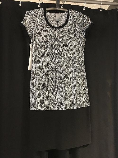 9610-TP Robe t-shirt à 2 niveaux à chevrons gris/noir/crème