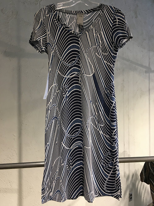 B585-TP Robe tricot ajustée marine/bleu/blanc caoutchouté
