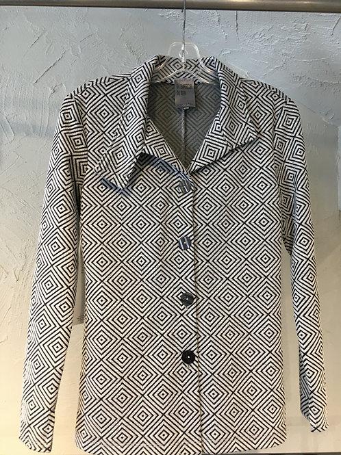 EH199-TP veste col asymétrique motifs cubiques ciment/noir