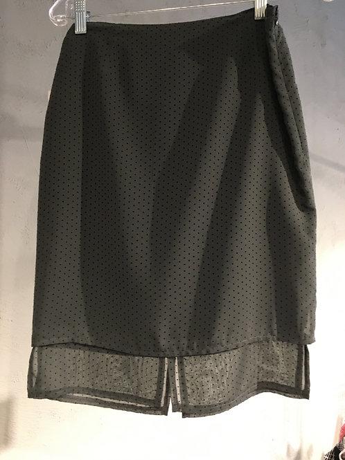 8518 Jupe doublée droite à panneaux gris asphalte poité noir