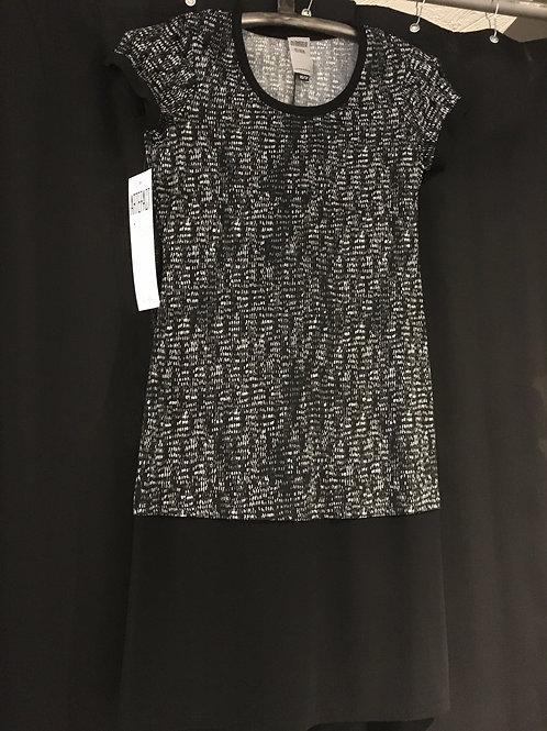 9609-TP Robe t-shirt 2 niveaux noir/gris/blanc