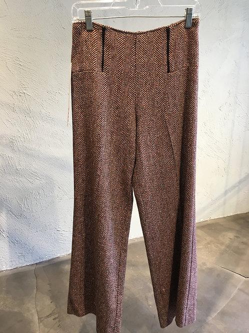 3841-3 Pantalon doublé en lainage chevrons rouge/beige/noir