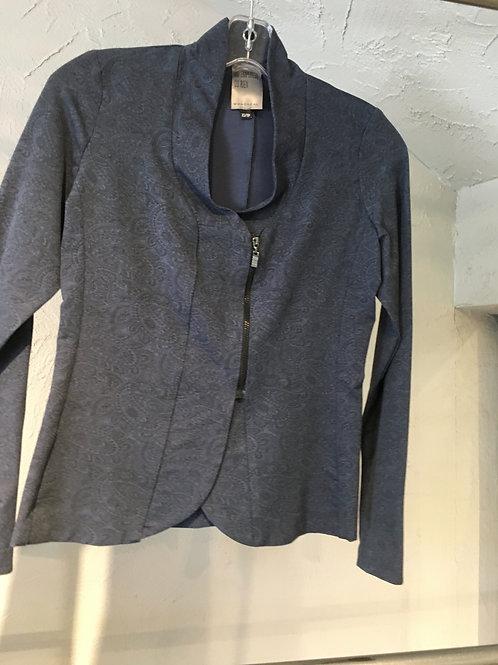 K102-TP veste zippée paisley noir sur bleu extensible