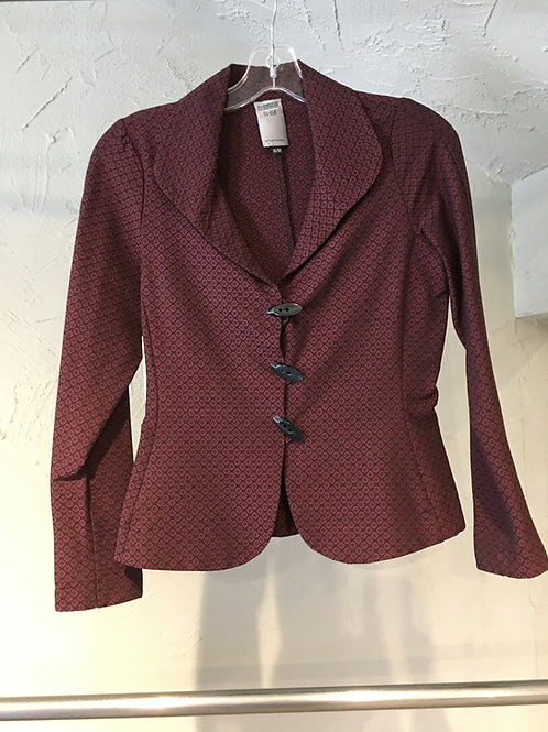 K195-TP veste col châle ajustée extensible bordeaux à écussons