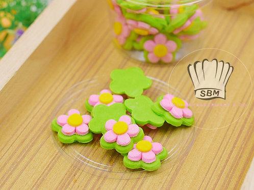 ดอกไม้น้ำตาลสีชมพูเขียว