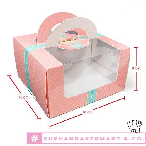 กล่องเค้กครึ่งปอนด์สีชมพู มีหน้าต่าง