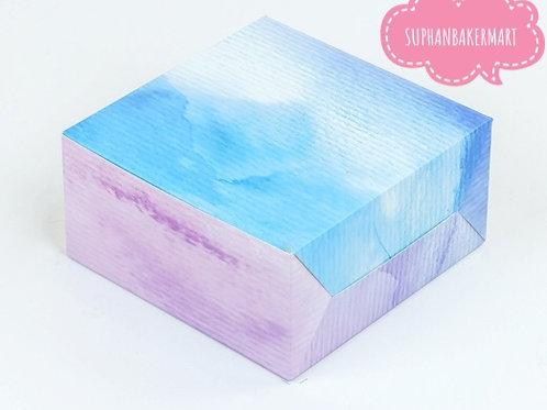 กล่องสแน๊ค/จัดเบรค ลายสีน้ำสีฟ้า