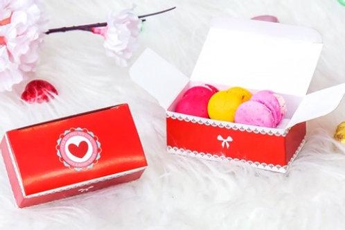 กล่องมาการอง/ช๊อคโกแลต สีแดงรูปหัวใจ