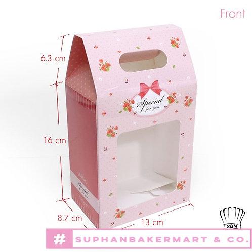 กล่องจัด Gift set ทรงถุง 7.5 นิ้วสีชมพูอ่อนลายโบว์