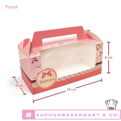 กล่องคัพเค้ก 2 ชิ้นลายโบว์สีชมพู