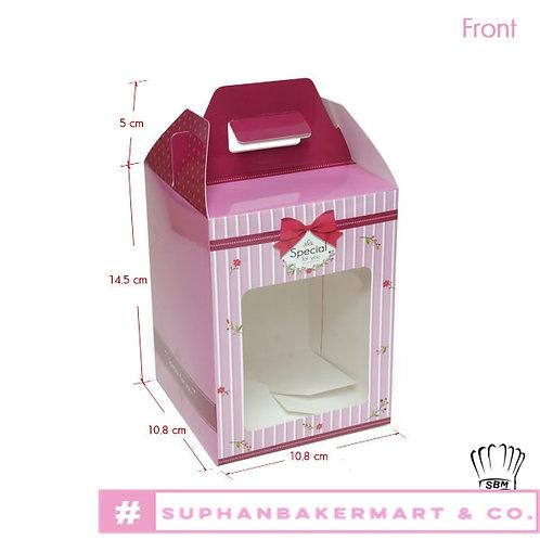 กล่องจัด Gift set ทรงเหลี่ยม 5.5 นิ้ว สีชมพูเข้ม