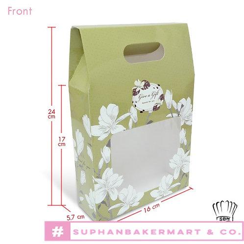 กล่องจัด Gift set ทรงถุง 6.5 นิ้วลายดอกลิลลี่ขาว