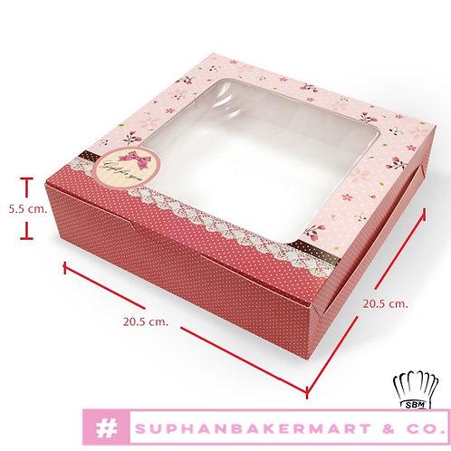 กล่องเค้ก 1 ปอนด์เตี้ย มีหน้าต่าง ลายโบว์ชมพู