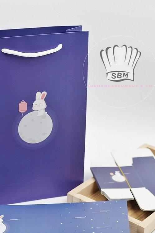 เซ็ทถุงขนม+กล่องขนมไหว้พระจันทร์ลายกระต่ายสีน้ำเงิน