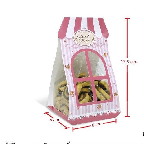 กระดาษห่อถุงขนม 6 x 9 นิ้ว ลายหน้าต่างสีชมพู