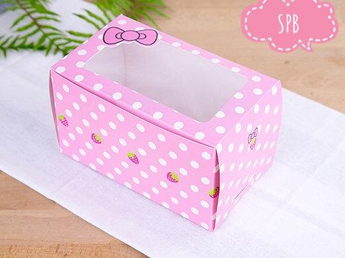 กล่องเค้ก 3-4 ชิ้น ลายโบว์สีชมพู