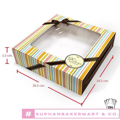 กล่องเค้ก 1 ปอนด์เตี้ย มีหน้าต่าง ลายคาดสีรุ้ง