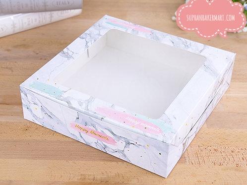 กล่องเค้ก 2 ปอนด์ทรงเตี้ย ลายหินอ่อนเทา