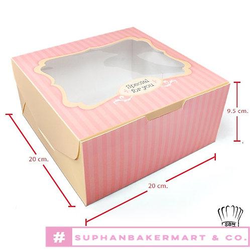 กล่องเค้ก 1 ปอนด์ มีหน้าต่างสีชมพูลายทาง