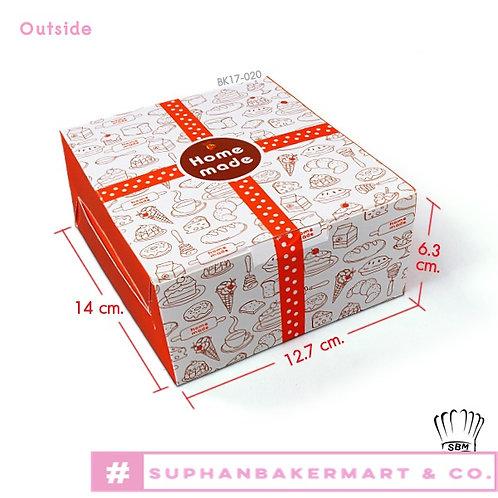 กล่อง Snack-กล่องใส่อาหารว่างลายเค้กคาดแดง