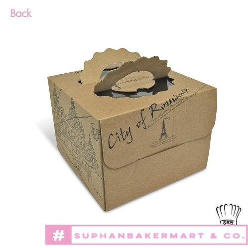 กล่องเค้ก 1 ปอนด์ ทรงสูง พร้อมแผ่นรอง
