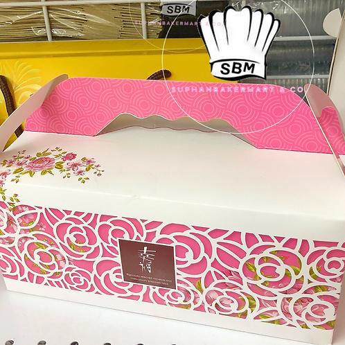 กล่องหูหิ้วสีชมพูลายดอกไม้ขาว